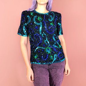 Vintage Patra silk blouse w/ sequins and beads